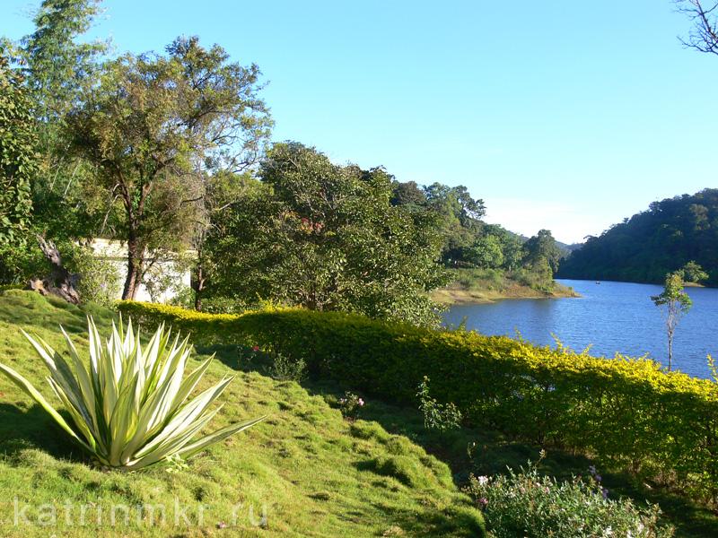 Национальный парк Перияр. Сад возле главного корпуса и озеро.