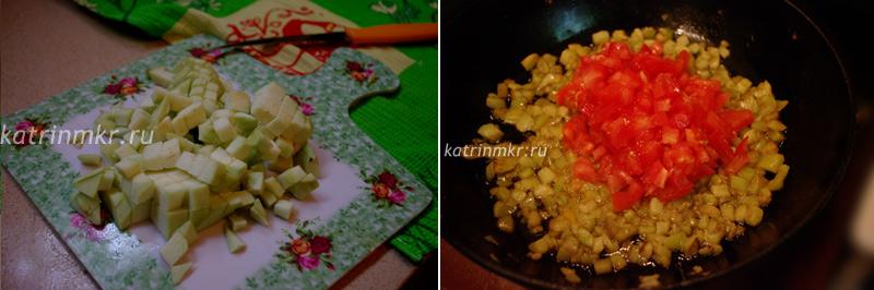 Вегетарианская долма. Баклажан режем и тушим с помидорами.